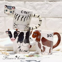 280ml Creative Cartoon Painting Ceramic Milk Coffee Mug Cute 3D Cat Dog Cow Animal Porcelain Mug for Children Drink Decoration