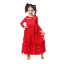 Wholesale Winter Long Sleeve O-neck Ruffle Christmas Baby Girl Clothes Red Lace Boho Long Beach Girls Dress With Satin Bow Dress