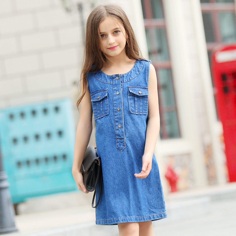 2016 Teen Girls Clothing Cotton Frock Designs Girls Denim Dress Sleeveless Frocks For Kids  Age 5 6 7 8 9 10 11 12 13 14T Years<br>