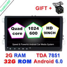 "9"" Android 6.0 2 Din Car Radio Dvd Gps Multimedia Dvd Headunit Player 2g Ram For Volkswagen Vw Skoda Golf 6 Polo Passat Tiguan(China)"