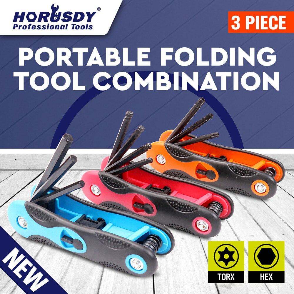 HORUSDY 3PC Folding hexagon key set 9pcs hex allen wrench screw driver set metric tool new<br><br>Aliexpress