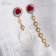 AOMU New Embroidery Red Rose Flower Long Pearl Beads Chain Tassel Earring Female Asymmetric Metal Gold Circle Drop Earrings