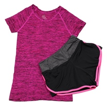 2Pcs Women Yoga Sets Tracksuit T-Shirt Tops Shirts +Shorts Pants Set Workout Sports Wear