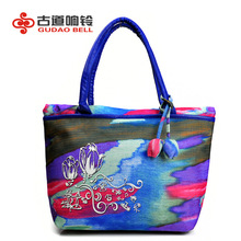 Artist oil painting handbag totes designer style fashion embroidery charm lidies blue factory wholesale and retail drop shipping
