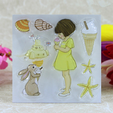 YLCS168 Ice Cream Girl Silicone Clear Stamps For Scrapbooking DIY Album Paper Cards Decoration Embossing Rubber Stamp 10x10cm(China)