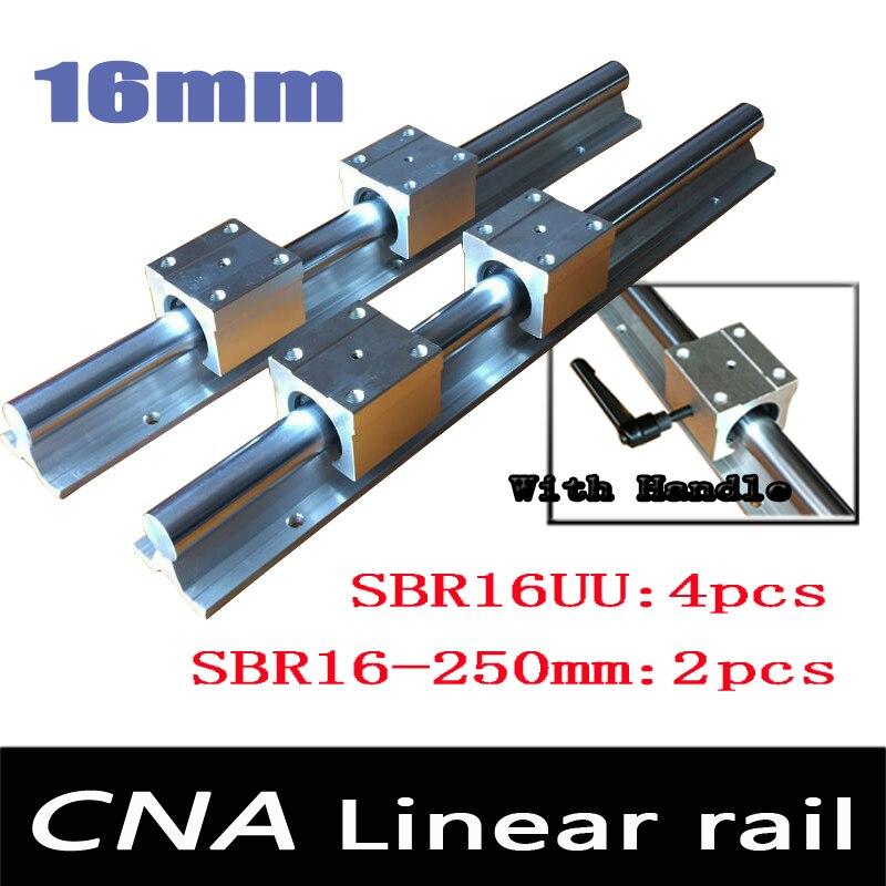 NEW 2pcs SBR16 L250mm Linear Bearing Rails + 4pcs SBR16UU Linear Motion Bearing Blocks (can be cut any length) with handle<br>