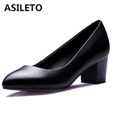 ASILETO Women Shoes Work Real Leather Female Square Heels Pointed Toe Comfortable Pump Office Nurse Waterproof Shoes S235(China)