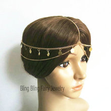 Charming gypsy coin Layers head chain tiara head jewelry