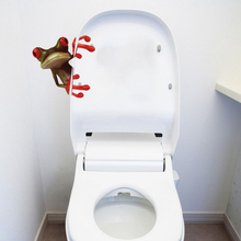 1 pcs Fashion Toilet Sticker Cute 3D Green Frog Toilet Sticker Home Bathroom Decor Wall Sticker