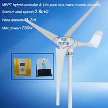 700w 12v/24v/48V wind turbine generator with MPPT controller and pure sine wave inverter for home use off grid on grid system(China)