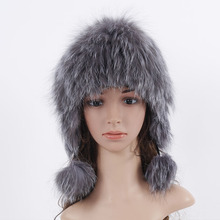 Women Ladies' Real Fox Fur Hat with Pom Poms Fashion Earmuffs Knitted Beanies Solid Adult Women Popular Hats