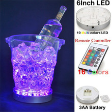 50pcs/Lot 3AA Battery Operated Remote Multi-colors LED Light Base Wedding Decoration LED Under Vase Light Ice Bucket Light