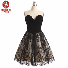 Red Cocktail Dresses 2017 A Line Sweetheart Sleeveless Black Homecoming Dresses Lace Burgundy Party Dress Short Robe De Cocktail(China)