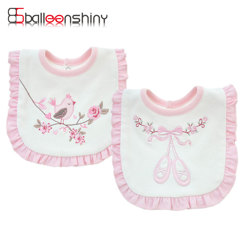 BalleenShiny Cotton Double Layers Baby Bibs Cute Pink Lace Saliva Towel Infant Girl Boy Burp Cloths Toddler Feeding Babador(China)