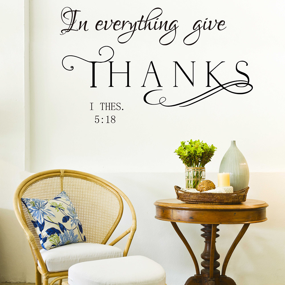 In Every Thing Give Thanks Wall Decal Thessalonians Bible Verse Wall Decal  Vinyl Lettering Sticker Wall Part 63