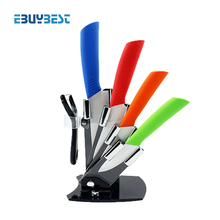 "4 color cooking tools kitchen knives set 3""4""5""6"" inch+Peeler+Acrylic Holder block ceramic knife paring knives free shipping(China)"