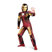 On Sale Child Deluxe Iron Man Mark VII Muscle Costume Boys Marvel The Avengers Superhero Suit Up Great For Halloween Size 3T-12y(China)