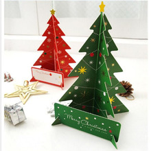 2pc New 3d Christmas Tree Greeting Card Postcard Birthday Gift Message Card Red / Green Set Set Thanksgiving Card
