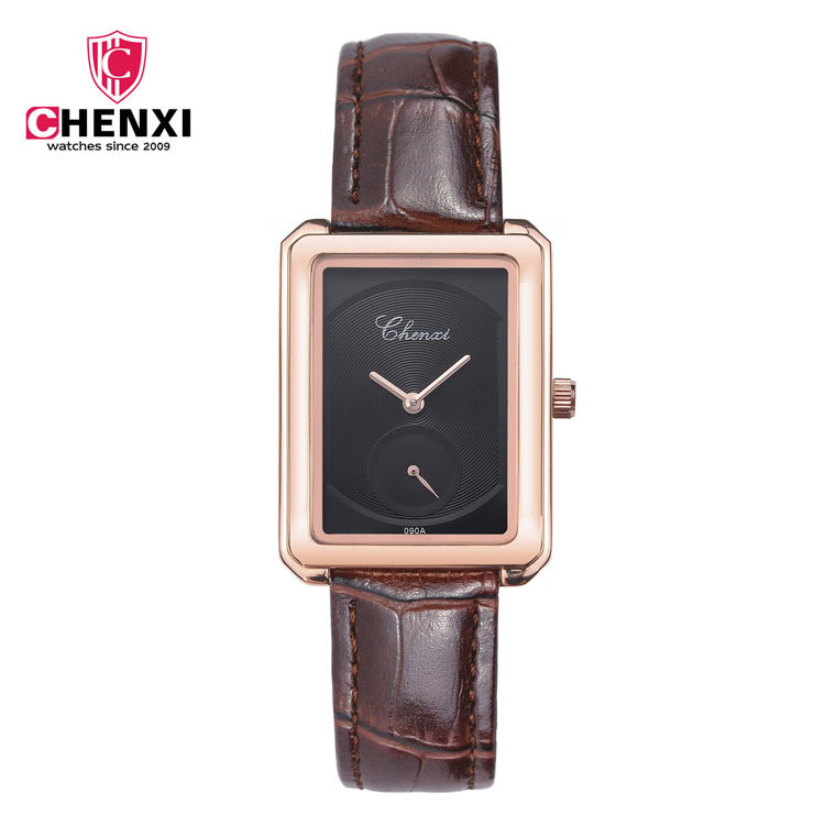 Luxury Cute CHENXI Small Dial Rectangle Ultra Thin Rose Gold Leather Wedding Wrist Watch Quartz Wristwatches for Women Ladies<br><br>Aliexpress