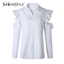 Buy TWOTWINSTYLE Hole White Shirt Female Lapel Collar Ruffles Patchwork Long Sleeve Blouse 2018 Spring Fashion Plus Size Clothing for $14.34 in AliExpress store