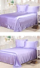 Satin Silk Bedding 4PCS Sheet set bedspread Fitted bed sheet Lilac linen Super Cali King Queen size full twin Custom 20 color
