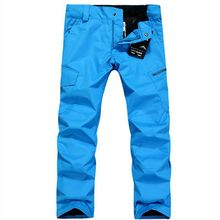Outdoor monoboard men skiing pants fashional style denim men skiing pants windproof waterproof thickening trousers(China)