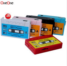 wholesale 500pcs new Mini Cassette Tape Shape MP3 Music Player, Support microSD(TF) Card