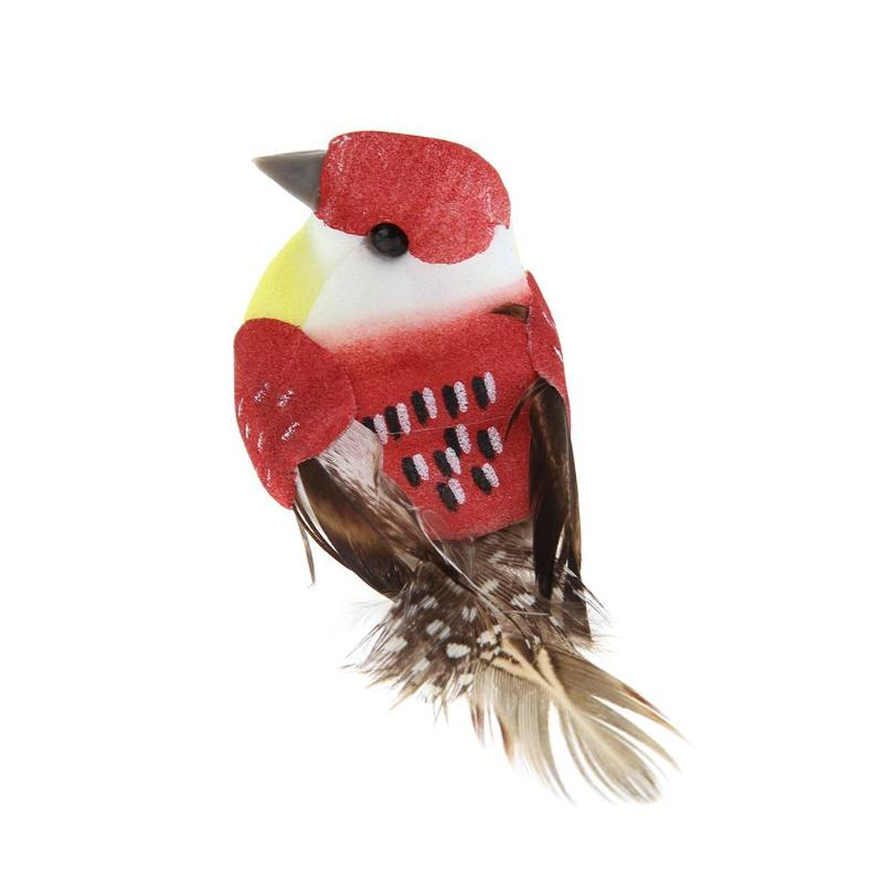 12pcs//Set Simulation Artificial Foam Feather Birds Models Garden Miniature
