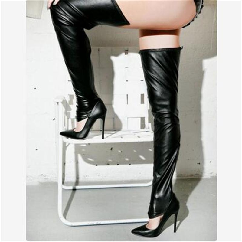 Hot Sale Brand Two Styles Women Pumps PU Leather Thigh High Boots Over The Knee High Heel Boots Sexy Ladies Stiletto High Heels<br>