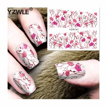 YZWLE 1 Sheets Full Cover Pretty Flower Water Transfer Sticker Nail Art Decals DIY Beauty Decorations Polish Tips(China)