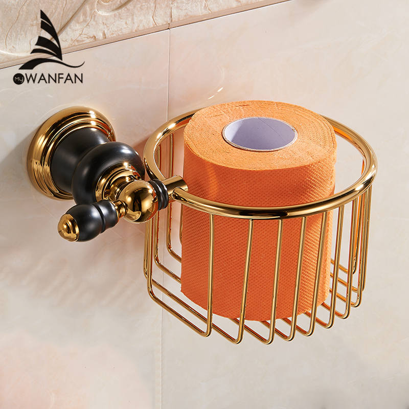 Paper Holders Gold-plating Toilet tissue Holder Bathroom Shelf Brass Luxurious Decorative Bathroom Hardware XL-66816<br>