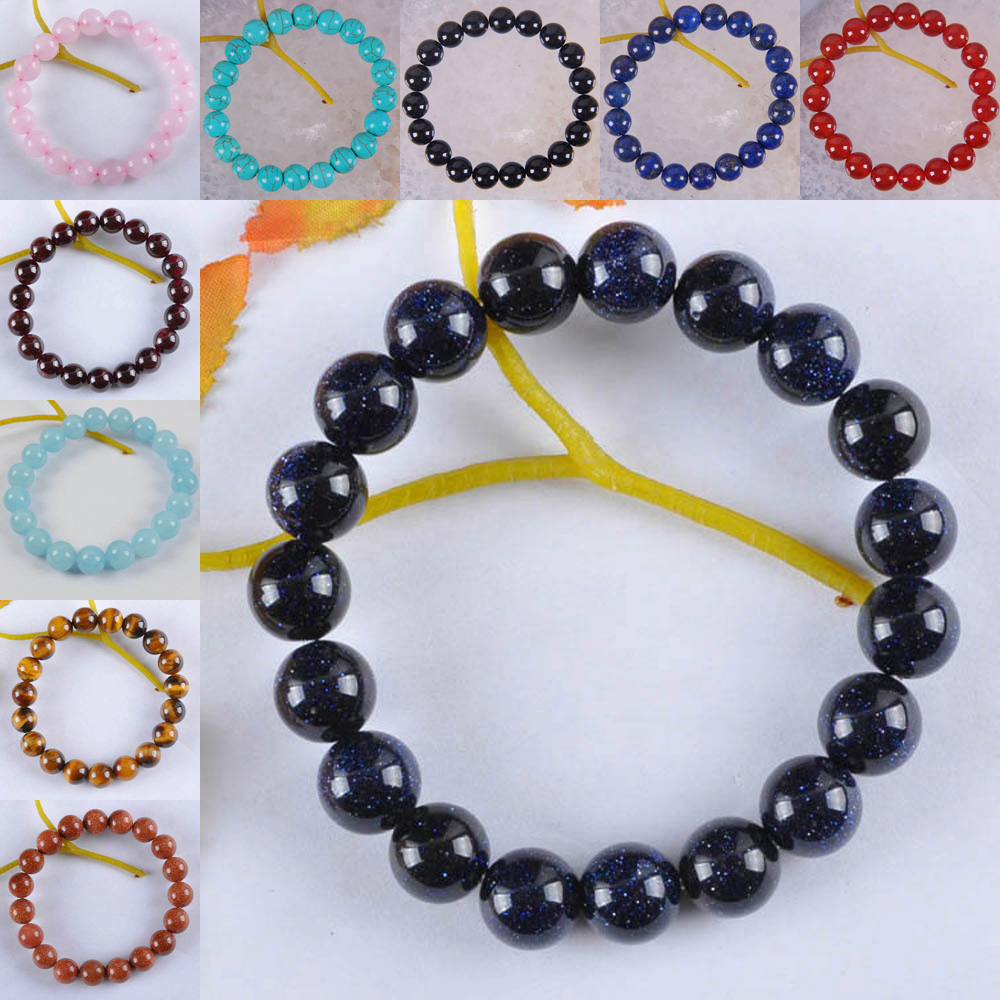 Lucky Bracelet Natural Grès BLEU ROND pierres précieuses perles stretch bracelet cadeaux