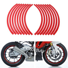 "16 Pieces/Set Universal  DIY 10""-12"" Reflective Wheel Rim Stripe Tape Stickers Red Decal Fit Car Motorcycle Printing Film ATV"