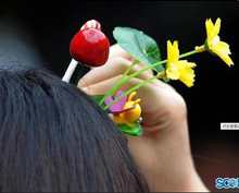 200PCS Novelty Plants grass hair clip headwear Small bud antenna hairpins Lucky grass bean sprout mushroom party hair pin HD3401(China)