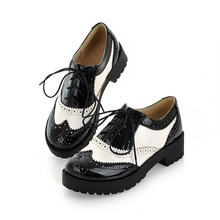Size 34-43 new 2016 Vintage Black/White Round Toe Leather Oxfords Shoe Womens Ladies Lace Up Flat Platform Brogue Creepers Shoes