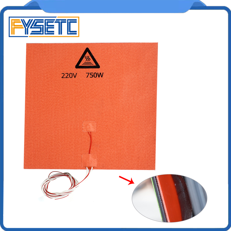 1PC Silicone Heater Pad 330x330mm 220V 750W With Thermistor & Adhesive For Tronxy X5S 3D Printer HeatBed Upgrade