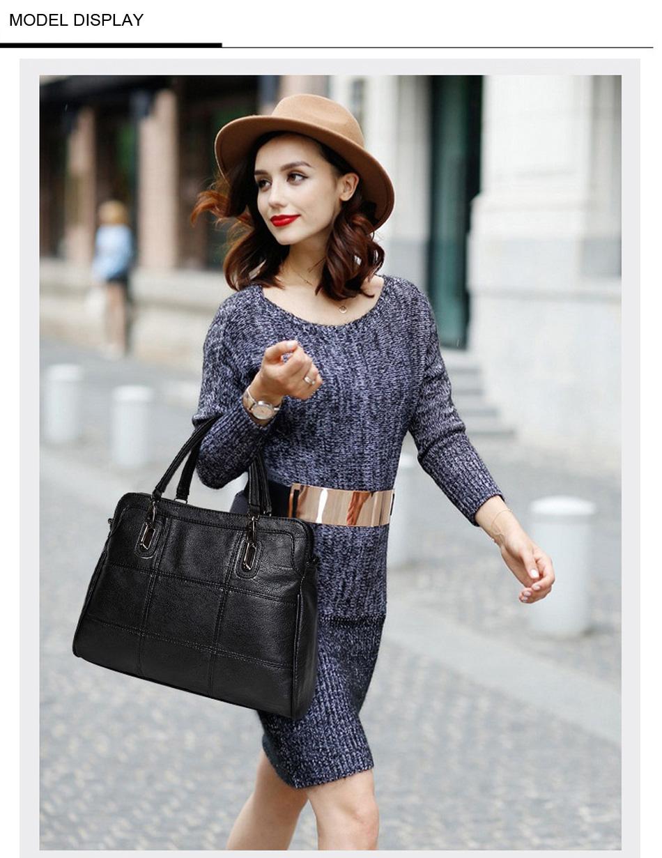 Bonsacchic Fashion Ladies Hand Bag Women's Genuine Leather Handbag Black Leather Tote Bag Bolsas femininas Female Shoulder Bag 4