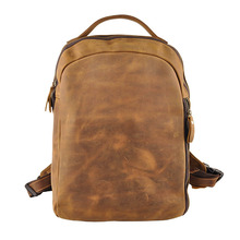 "Crazy Horse Genuine First Layer Leather Men's Retro 14"" Casual Stylish Backpack Travel Laptop Notebook Zipper Bag freeshipping"
