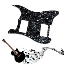 Wonderful Quality3Ply Guitar Pickguard Stratocaster Strat HH 2 Humbucker Pearl Black Guitar Parts Jun30_25(China)
