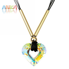 Valentines Gift Alloy Metal Heart Pendant Necklace Crystals From Swarovski Fashion Jewelry #90027