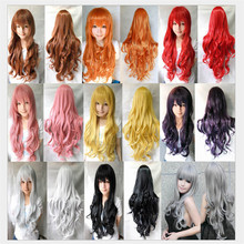 ladies womens wig long anime cosplay wig heat resistant wavy curly wigs synthetic hair red blue blonde black grey wigs cheap
