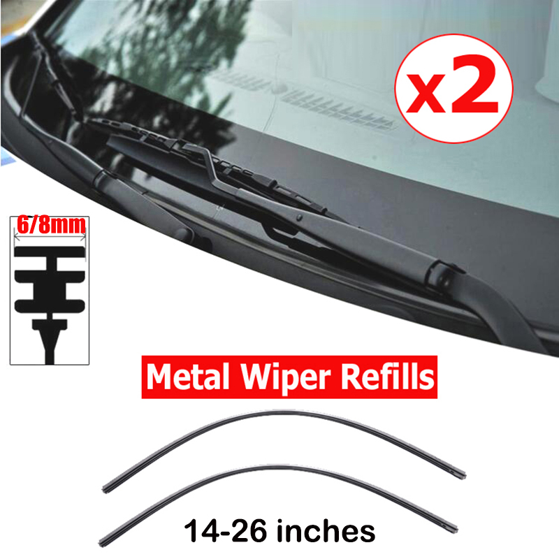"2pcs/lot Car rubber Vehicle Insert strips Wiper Blade blades (Refill) 6mm/8mm 14""16""22""24""26"" car accessories Soft Refills(China)"