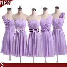 light purple party dresses lilac a line chiffon bridesmaid elegance short big size dress for wedding party knee length B1951