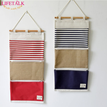 New Brand Cotton Fabric Wall Pocket Hanging Bags Waterproof Bathroom Storage Bags Stripe Home Decorating Makeup Organizer(China)