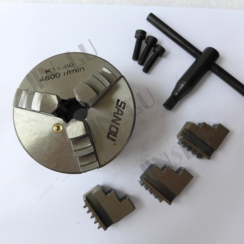 Three jaw chuck self-centering lathe chuck  k11-80 three jaw chuck 80mm machine accessories hardware tools<br><br>Aliexpress
