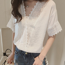 Fashion Blusas 2017 Summer Sexy Women Blouses Lace Hollow Out Shirts White Pink Casual Tops Blouse Plus Size 006