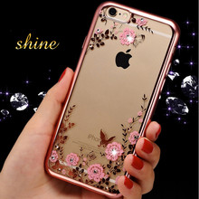 For iPhone 7 8 Plus Case Luxury Bling Diamond Flower Soft Case For Apple iPhone ayfon 6 6s 6 Plus 8 8plus Clear Phone Back Cover(China)