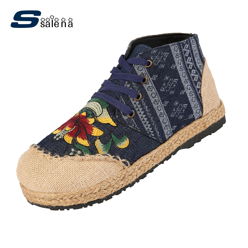 Brand Women Embroidery Shoes 2017 New Arrival High Quality Women Casual Shoes High Top Female Flats Aa20499<br>