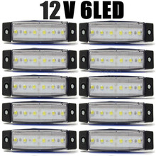 10Pcs White 6LED Bus Van Truck Trailer 6 LED Side Marker Indicators Lights Lamp 12V 24V