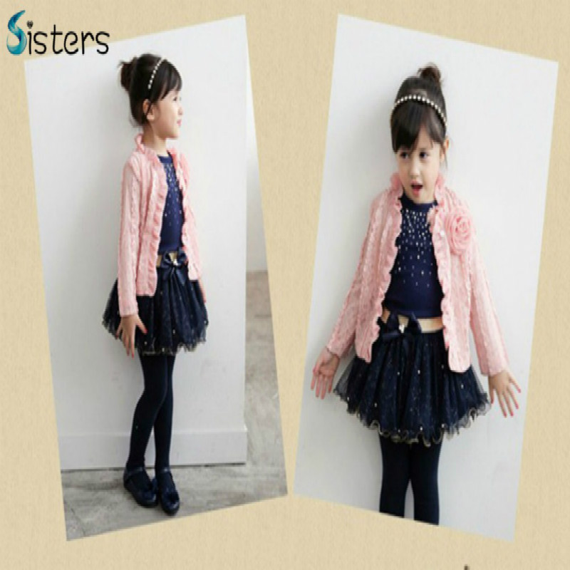 Free shipping spring&autumn baby girls clothing sets 3 pieces suit girl's flower coat + blue T shirt + tutu skirt cheap clothes(China (Mainland))